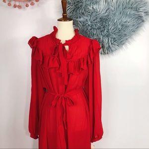 Vtg 80s NWT Red Ruffle Tent Midi Dress 12 S M L